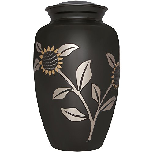 Charcoal and Gold Funeral Cremation Urn for Human Ashes b...