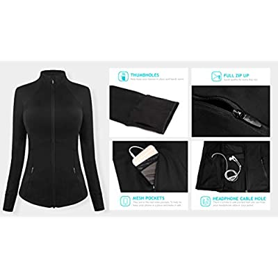 QUEENIEKE Womens Sports Jacket Slim Fit Full-Zip Size L Color Black: Clothing