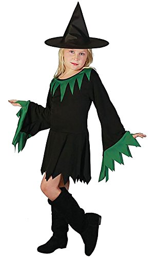 Girls Green Witch Horror Costume Dress Childrens Fancy Halloween Retro Outfit #(401334 Green Witch Costume#Small(4-6 Years#Unisex) - Halloween Outfits Uk