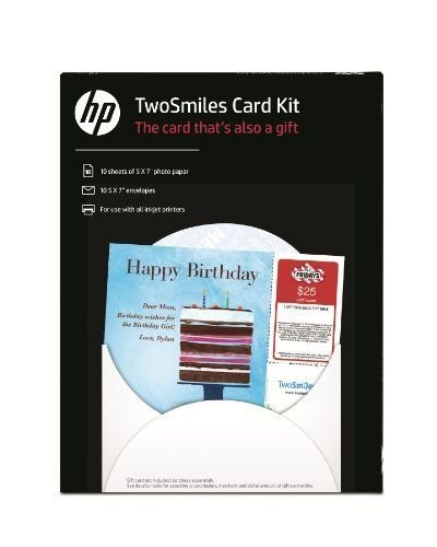 HP Two Smiles Card Kit, 5 x 7 Inches, White, 10 Sheets/10 Envelopes ()