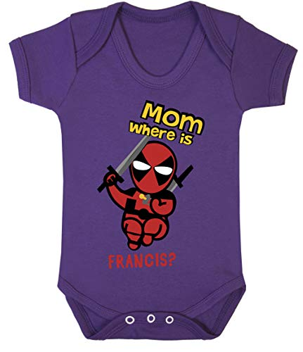 Little Deadpool Funny Print Baby Bodysuits Hypoallergenic Cotton (3-6 Months, -