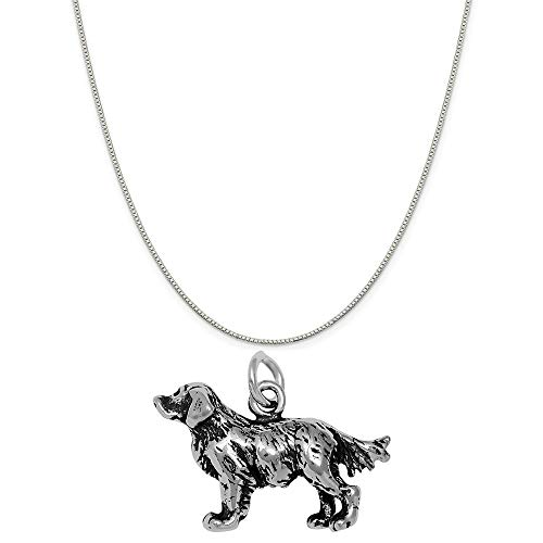 - Raposa Elegance Sterling Silver 3D Golden Retriever Charm on a 18
