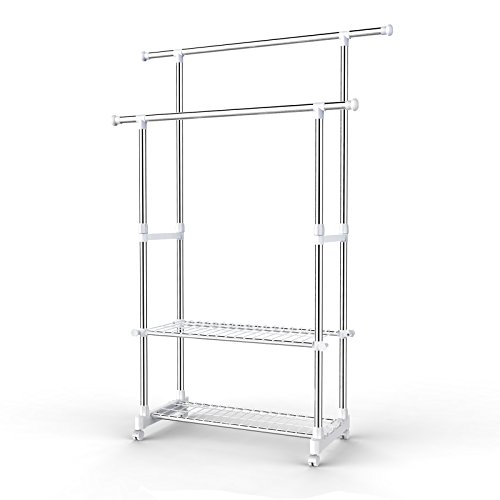 SONGMICS Double Clothes Rail Telescopic Extendable Coat Garment Rack with Shoe Shelf Stainless Steel Clad Pipe 154 x 42 x 172 cm LLR03W