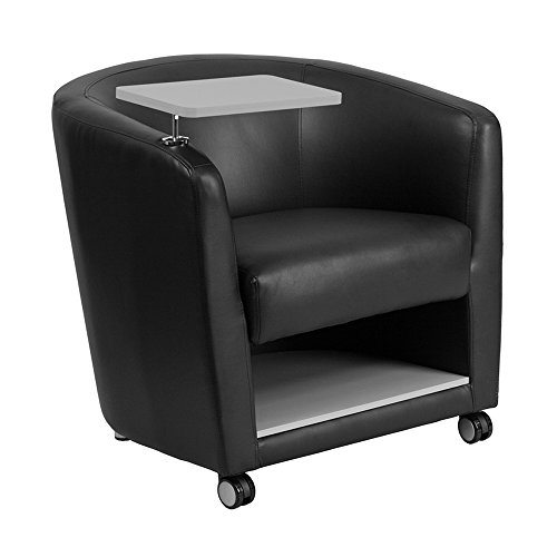 Offex Leather Guest Chair with Tablet Arm, Front Wheel Casters and Under Seat Storage - Black