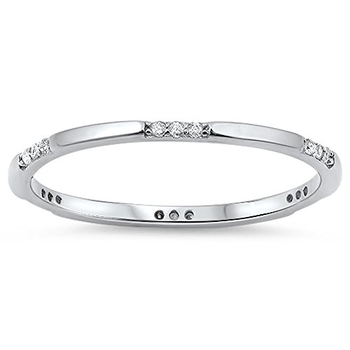 Thin Stackable Clear CZ Cute Thumb Ring New .925 Sterling Silver Band Size 9 by Sac Silver