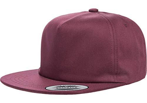 (Flexfit/Yupoong Unstructured 5-Panel Snapback   Flat Brim, Adjustable Snapback Cap w/Hat Liner (Maroon))