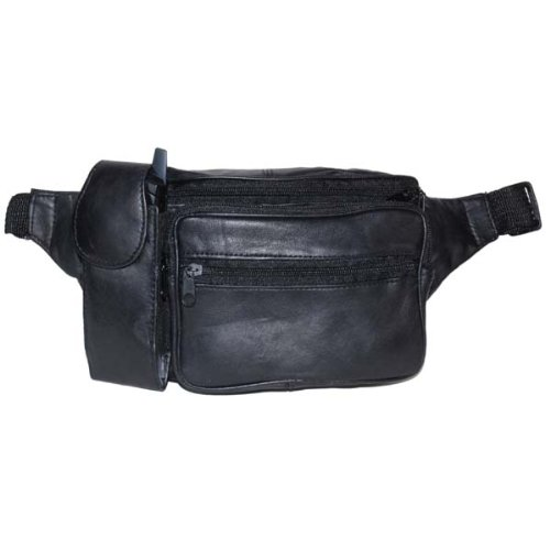 Pouch Lambskin Black (Lambskin Leather Black Fanny Pack with Cell Phone Pouch)