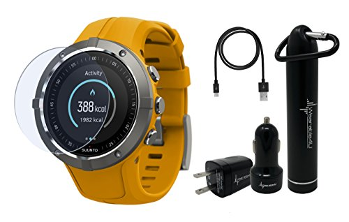 (Suunto Spartan Trainer Wrist HR Multisport Lightweight GPS Watch and Wearable4U Ultimate Power Pack Bundle (Amber))