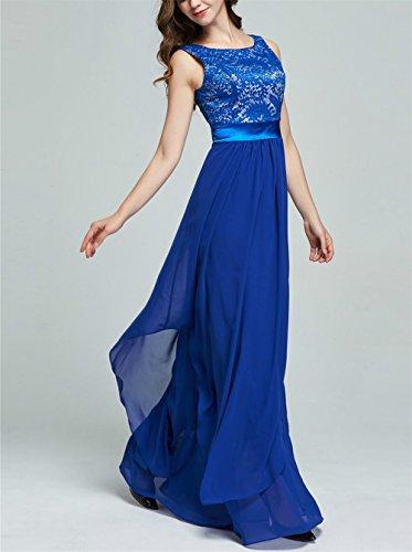Xx Rockabilly Azul De Para Mangas Y Yingsssq Vestido Encaje Larga Mujer large Fiesta Cóctel Poliéster Gasa Sin Elegante 8vqxtwxaZ1