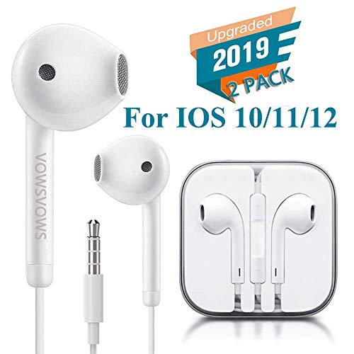 Headphones/Earphones/Earbuds/Headsets 3.5mm Wired Headphones Noise Isolating Earphones with Built-in Microphone & Volume Control Compatible with iPhone 6 Se 5S 4 iPod iPad/Android MP3-White(2 Pack)