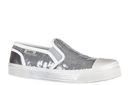 Hogan Rebel Damen Leder Slip On Slipper Sneakers r289 Silber