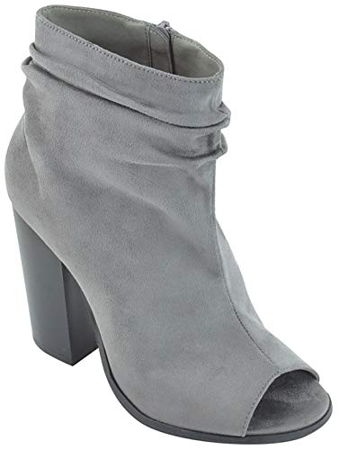 MVE Shoes Women's Ankle Open Toe Bootie - Chunky Heeled Side Zipper Booties Grey*s28*