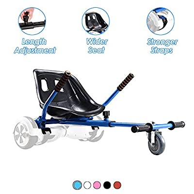 Hoverboard Seat Attachment, Go Kart Conversion Kit for Self Balancing Scooter, Adjustable Hoverboard Kart Accessories, Fits All Ages & Heights, Heavy Duty Frame, Compatible for 6.5'' 8'' 10'', Blue: Sports & Outdoors