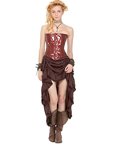 - Steampunk Pirate Renaissance Skirt with Shredded Raw Edges [Chocolate] (Medium)
