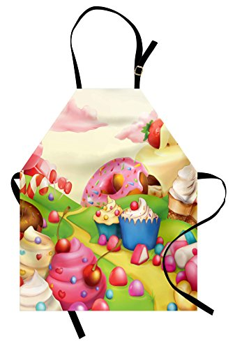 Ambesonne Modern Apron, Yummy Donuts Land Cupcakes Ice Cream Cotton Candy Clouds Kids Nursery Design, Unisex Kitchen Bib with Adjustable Neck for Cooking Gardening, Adult Size, Cream Pink