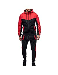 WOCACHI Final Clear Out Mens Tracksuit 2 Piece Sets Patchwork Sweatshirt Tops Pants Hooded Sports Suit Hoodies Jackets Sweatpants Pullover Autumn Winter Long Sleeve Warm