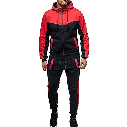 WOCACHI Final Clear Out Mens Tracksuit 2 Piece Sets Patchwork Sweatshirt Tops Pants Hooded Sports Suit Black Friday Cyber Monday Hoodies Jackets Sweatpants Pullover Autumn Winter Long Sleeve - Dog Fab Designer