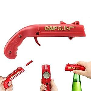 Apribottiglie a forma di pistola giocattolo con lanciatappi, ideale per aprire bottiglie di birra, per bar e feste… 2