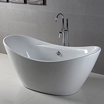 Superior FerdY Bathroom Freestanding Acrylic Soaking Bathtub White Color