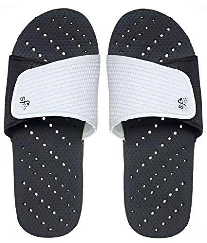 (Showaflops Mens' Antimicrobial Shower & Water Sandals for Pool, Beach, Dorm and Gym - Black/White Slide 9/10)