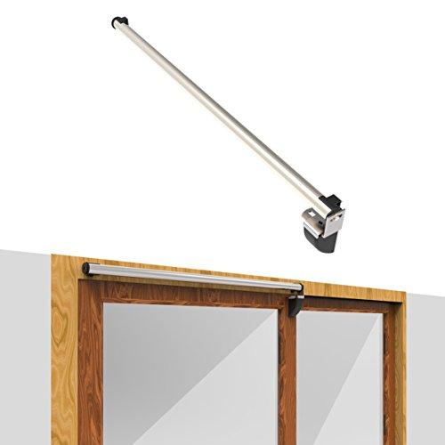 Dazzplus Air Pressure Sliding Door Closer 38'' Hold Open Aluminum Product Automatic and Buffer Close for Door Travel 36''~37.7'' Wood ,Glass Door Residential or (Door Closer Adjustment)