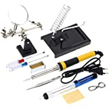 220V-240V 30W 10pcs Tools Soldering Iron with Magnifier Tin Wire Solder Sucker Rosin