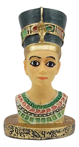 Ebros Ancient Egyptian Queen Nefertiti Bust Miniature Figurine With Hieroglyphic Base 2.25