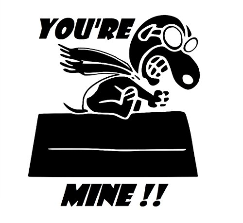 UR Impressions Blk Snoopy Flying - You're Mine Decal Vinyl Sticker Graphics for Cars Trucks SUV Vans Walls Windows Laptop|Black|5.5 inch|URI296-B
