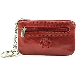 Tony Perotti Italian Bull Leather Zippered Keychain Holder Case, Red