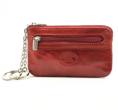 Tony Perotti Italian Bull Leather Zippered Keychain Holder Case, Red