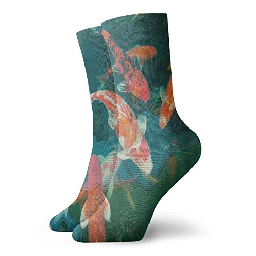 (Mens Womens Crew Socks Funny Carp Koi in The Pond Athletic Socks Customized Anti Bacterial Odor Cushion Short Boot Stocking)