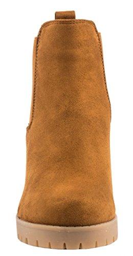 Elara Damen Chelsea Stiefel | Bequeme Stiefelette Profilsohle | Plateau Chelsea Boots Camel Wildlederoptik