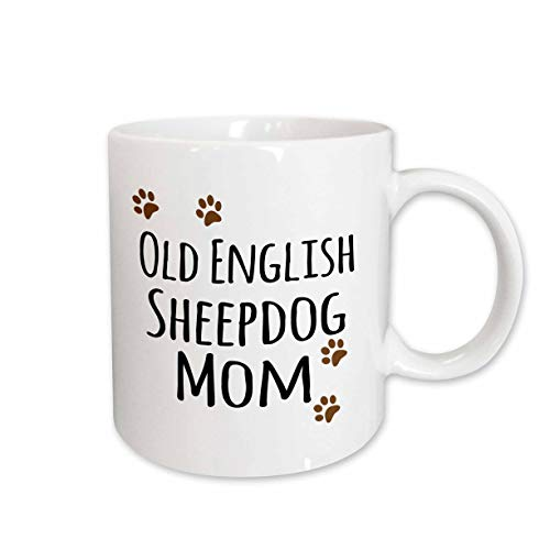 3dRose mug_154165_2 Old English Sheepdog Mom Sheep Dog Doggie by Breed Brown Paw Prints Doggy Lover Pet Owner Mama Ceramic Mug, 15-Ounce