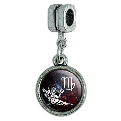 Zodiac Symbol Sign Italian Charm (Virgo Maiden Zodiac Sign Horoscope in Space Italian European Style Bracelet Charm Bead)