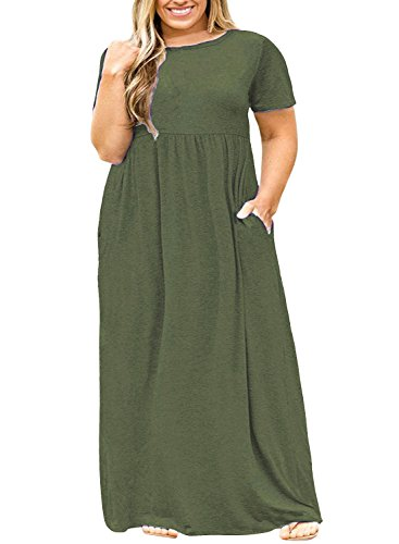 (Nemidor Women Short Sleeve Loose Plain Casual Plus Size Long Maxi Dress with Pockets (Green, 20W))