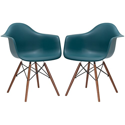 Poly and Bark Vortex Arm Chair Walnut Leg, Teal, Set of 2