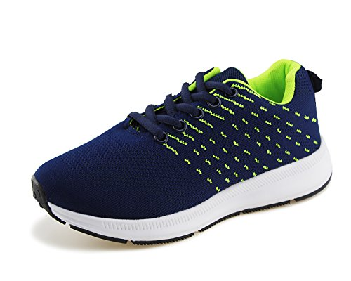 Jabasic Kids Knit Shoes Boys Girls Lightweight Lace Up Trail Running Sneakers(12,Blue/Green)