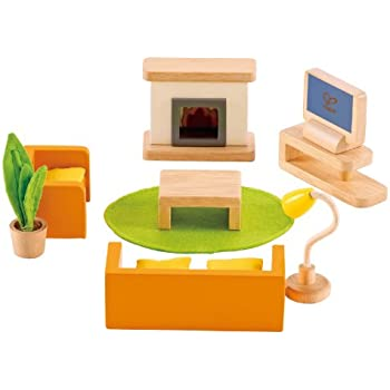 Amazoncom Hape Wooden Doll House Furniture Media Room Set Toys