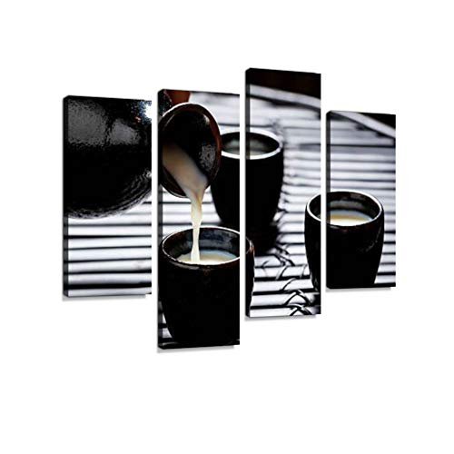 Tasty Sake in Asian Restaurant on Black Table Canvas Wall Art Hanging Paintings Modern Artwork Abstract Picture Prints Home Decoration Gift Unique Designed Framed 4 ()
