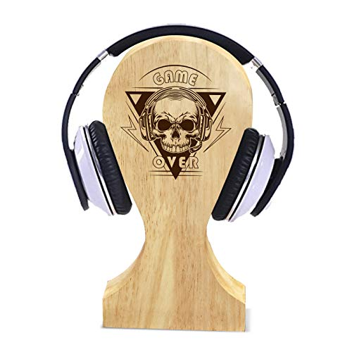 Graphicalmela Wooden Headphone Stand for Desk, Game Over Design/Headphone Holder for Gaming, Home Office and Internal Calling