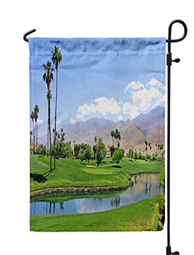 Shorping Welcome Garden Flag, 12x18Inch Green in The Desert Golf Course Palm Trees Pond Palm Spring California March 31 2018 for Holiday and Seasonal Double-Sided Printing Yards Flags
