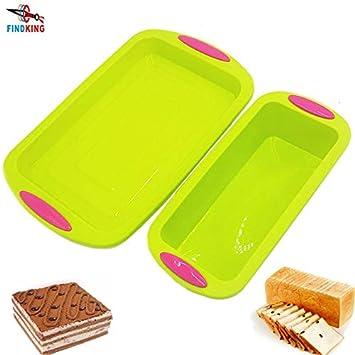 IDEA - Molde cuadrado de silicona de doble color para hornear tartas o pasteles, 2 en el paquete: Amazon.es: Hogar