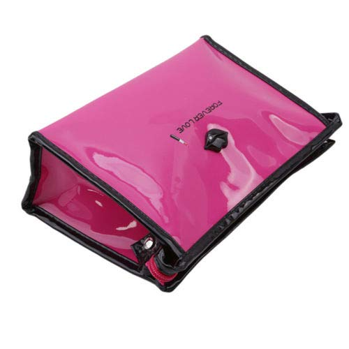 (Travel Folding Bag Nail Polish Bag Cosmetic Storage Case With Mirror Makeup QP (COLOR - Rose Red))