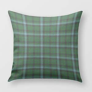 Green And Blues Tartan Plaid Pattern Throw Pillow Cover for Sofa or Bedroom