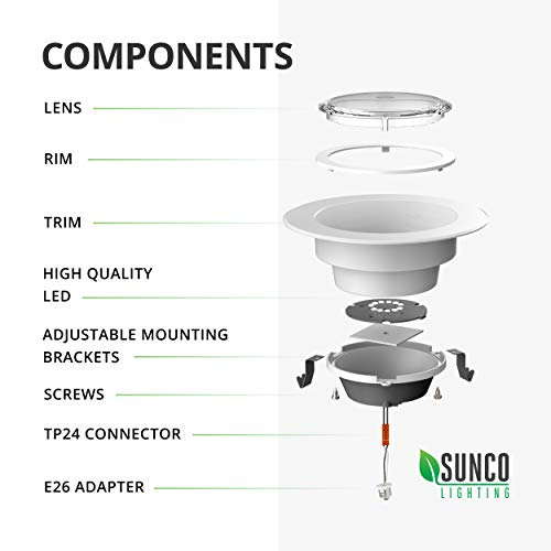 Sunco Lighting 6 Pack 4 Inch LED Recessed Downlight, Baffle Trim, Dimmable, 11W=40W, 3000K Warm White, 660 LM, Damp Rated, Simple Retrofit Installation - UL + Energy Star by Sunco Lighting (Image #10)