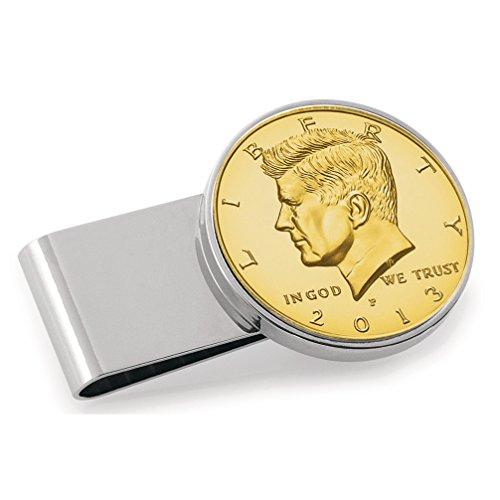 Layered Institution Clip Half Dollar Coin Money Silvertone Gold Smithsonian Stainless Steel JFK wUETUq