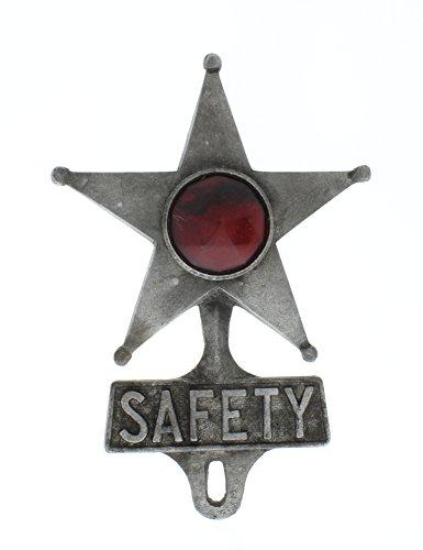 (TreasureGurus, LLC Metal Safety Star & Red Jewel Reflector License Plate Fob)