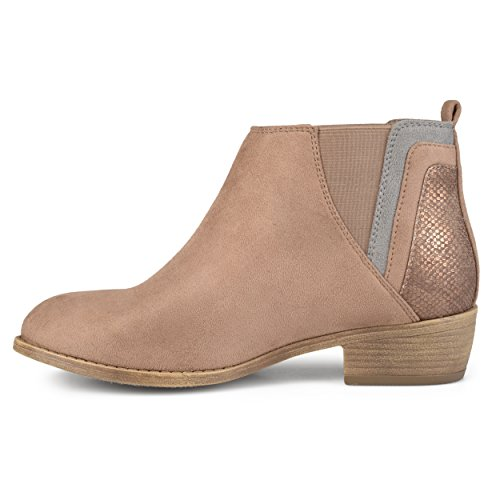 Journee Collection Femme Faux Serpent Talon Cheville Bottines Taupe