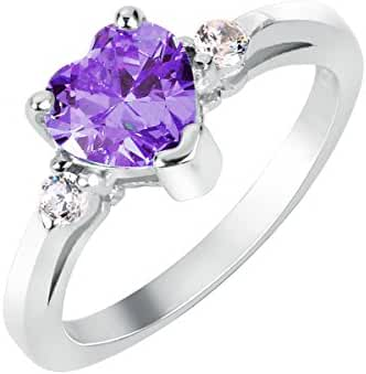 Heart Simulated Amethyst Cubic Zirconia Ring Sterling Silver 925 (Sizes 3-15)