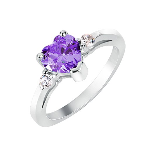 CloseoutWarehouse Simulated Amethyst Cubic Zirconia Heart Promise Ring Sterling Silver Size 10